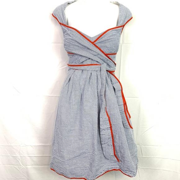 JESSICA SIMPSON Lined Seersucker Blue Dress sz 14